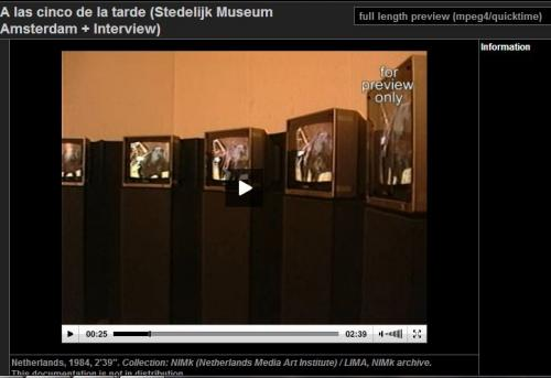 Screenshot of video documentation of 'A las cinco de la tarde' and interview with the artist filmed at the exhibition The Luminous Image at the Stedelijk Museum, Amsterdam 1984.