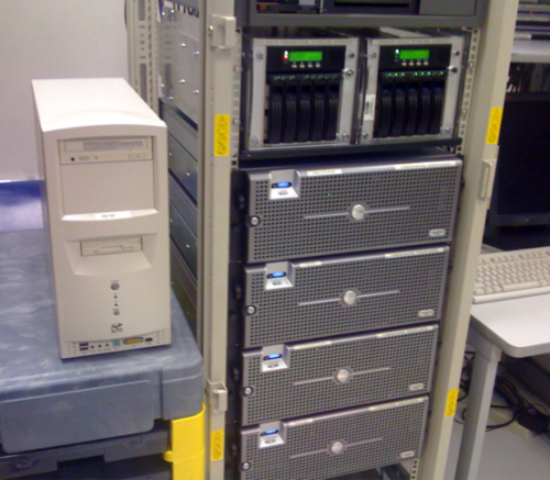 On the left, the original Red Hat server of Lynn Hershmann Leeson's web-based work Agent Ruby next to SFMOMA's VMware servers.