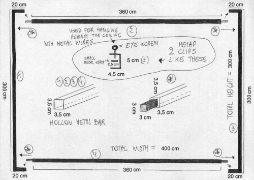A plan explaining how to mount the rear-projection screen.