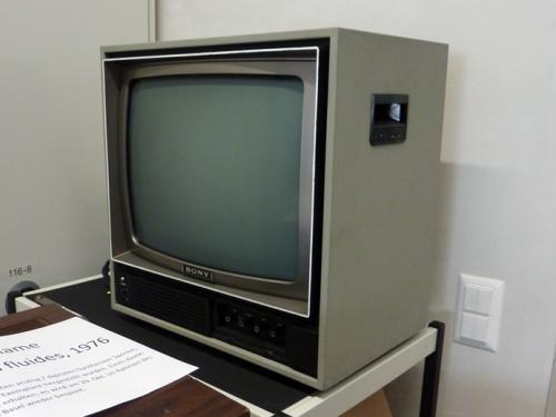 "An early SONY monitor used for the exhibition ""Reconstructing Swiss Video Art from the 1970s and 1980s"". Photo: PACKED vzw."